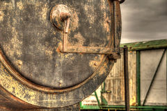 Steam Train Locomotive close up with carriage in background Royalty Free Stock Image