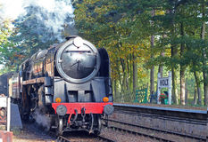 Steam train or locomotive, front.. Royalty Free Stock Photo