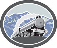 Steam Train Locomotive Mountains Retro Royalty Free Stock Images
