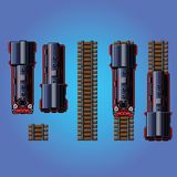 Steam train locomotive pixe art style game asset vector Stock Images
