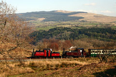 Steam Train in Mountains 10. Steam train running through the mountains on the Ffestiniog Railway, Wales, UK Royalty Free Stock Photo