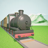 Steam train. With mountains on the back, 3d render, square image Royalty Free Stock Images