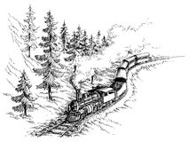 Steam train. In the mountains setting stock illustration