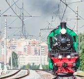 Steam train moves toward. Royalty Free Stock Photos