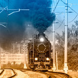 Steam train moves toward. Stock Photography