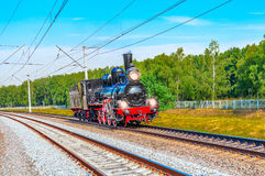 Steam train moves toward. Royalty Free Stock Photography
