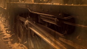 Steam train old style shot of wheels spinning on track 4K. Steam train filmed with old look but shot on 4K stock footage