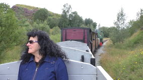 Steam train passenger enjoying a ride stock video