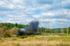 Steam train passing royalty free stock images