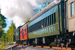Steam train passing Stock Image