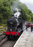 Steam Train at platform at Oxenhope Railway Station on Keighley and Worth Valley Railway. Yorkshire, England, UK, Royalty Free Stock Image