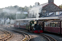 Steam train in Porthmadog Station, Stock Images