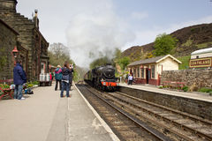 Steam train pulling into Goathland Stock Photography