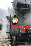 Steam train on railroad Royalty Free Stock Images