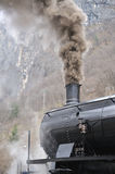 Steam train on railroad treno a vapore Royalty Free Stock Photo