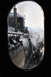 Steam train on railroad treno a vapore Royalty Free Stock Photos