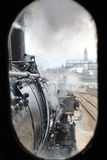Steam train on railroad treno a vapore Royalty Free Stock Photography