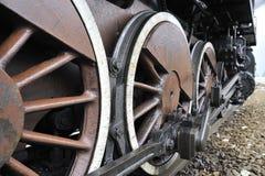 Steam train on railroad treno a vapore Stock Photo