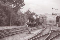 Steam Train on Railway Track Stock Photo