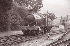 Steam Train on Railway Track. Black and White, Sepia, Tone Royalty Free Stock Image