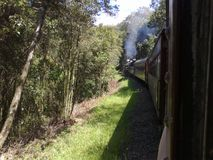 Steam train ride. Taking a steam train ride between the cities of Carlos Barbosa and Bento Gonçalves, Rio Grande do Sul, Brazil Royalty Free Stock Photography