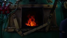 Steam train`s furnace opens and closes. stock video