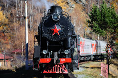 Steam train in Siberia,Russia Royalty Free Stock Images