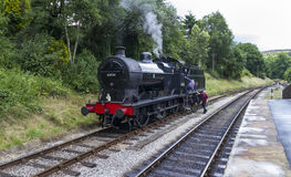 Steam Train in siding at Oxenhope Railway Station on Keighley and Worth Valley Railway. Yorkshire, England, UK, Royalty Free Stock Photography