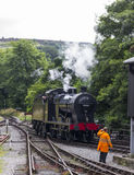 Steam Train in siding at Oxenhope Railway Station on Keighley and Worth Valley Railway. Yorkshire, England, UK, Stock Images