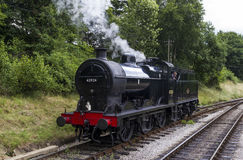 Steam Train in siding at Oxenhope Railway Station on Keighley and Worth Valley Railway. Yorkshire, England, UK, Royalty Free Stock Image