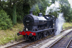 Steam Train in siding at Oxenhope Railway Station on Keighley and Worth Valley Railway. Yorkshire, England, UK, Royalty Free Stock Photos