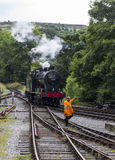 Steam Train in siding at Oxenhope Railway Station on Keighley and Worth Valley Railway. Yorkshire, England, UK, Stock Image