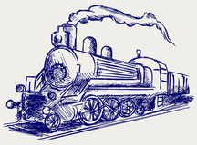 Steam train with smoke. Doodle style Royalty Free Stock Image