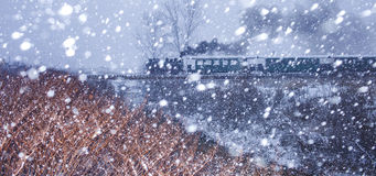 Steam Train in Snow Storm. Old Steam Train in Snow Storm. Travel in extreme weather conditions Stock Image
