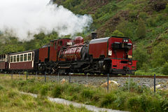 Steam train in Snowdonia, Wales royalty free stock photography