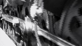Steam train close up of wheels and smoke black and white stock video footage