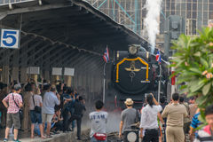 Steam train at State Railway of Thailand 119 years anniversary Royalty Free Stock Images