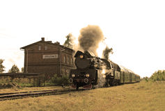 Steam train at the station Royalty Free Stock Photography