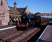 Steam train in station, Bridgnorth, UK. Royalty Free Stock Photo