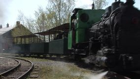 Steam train at the station stock video footage