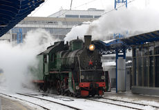 Steam train at the station Royalty Free Stock Photos