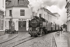 Steam train on the street of Bad Doberan, Germany Stock Image