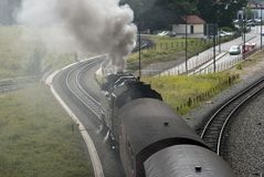 Steam train to the left. Steam train leaving Wernigerode station, Harz, Germany Stock Photography