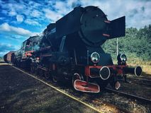 Steam train. On tracks Stock Image