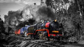 Steam Train travelling through Macedon, Victoria, Australia, September 2018. Double Header Steam Train travelling through Macedon, Victoria, Australia, September stock images