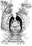 Steam train. In tunnel drawing royalty free illustration