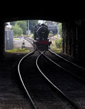 Steam Train through tunnel at Keighley Railway Station on Keighley and Worth Valley Railway. Yorkshire, England, UK, Stock Photos