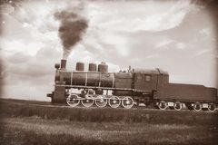 Steam train in vintage sepia Stock Image