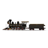 Steam train on a white 3D Illustration Royalty Free Stock Image