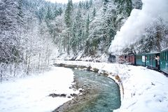 Steam train in winter royalty free stock image